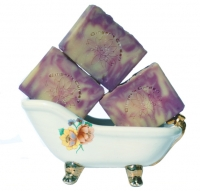 Violets Handmade Soap Lavender Purple Cream Swirls