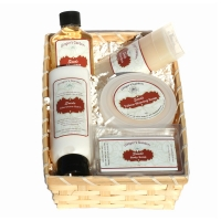 Men's shave soap, aftershave, balm, travel stick gift basket